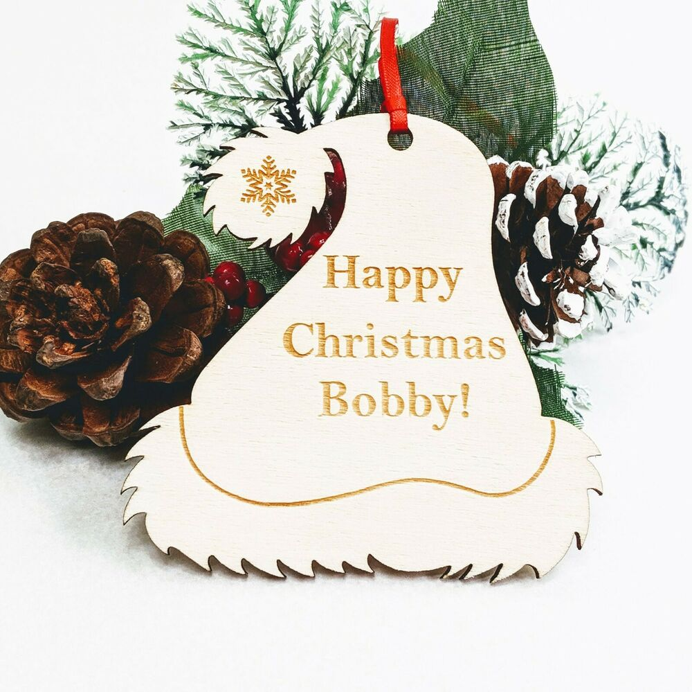 Personalised Wooden Christmas Tree Decoration Santa Hat Custom