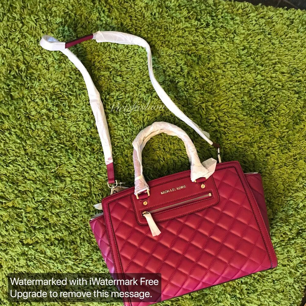 73a468bc35 Details about NWT  398 Michael Kors Large Quilted Selma Satchel In Deep Pink