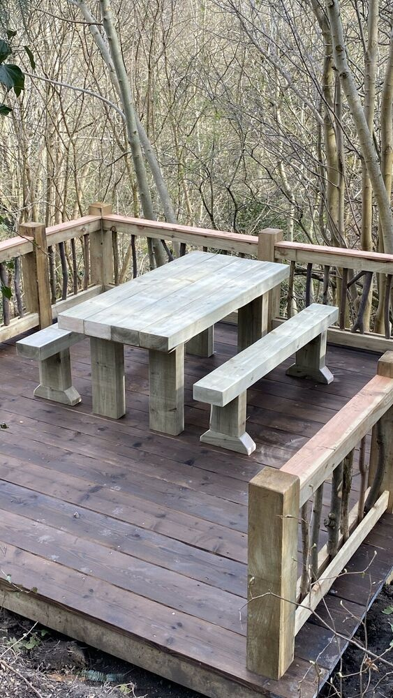 Rustic Solid Wooden Sleeper Outside Table And Benches