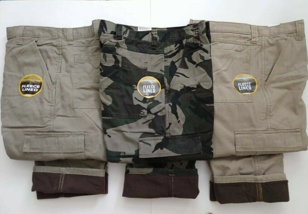 6b165384 Wrangler Fleece Lined Cargo Pants Relaxed Fit - Work Fishing Hunting - Mens  | eBay