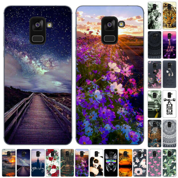 For Samsung Galaxy A3 A5 A6 A7 A8 Plus 2018 Silicone Painted Soft TPU Case Cover