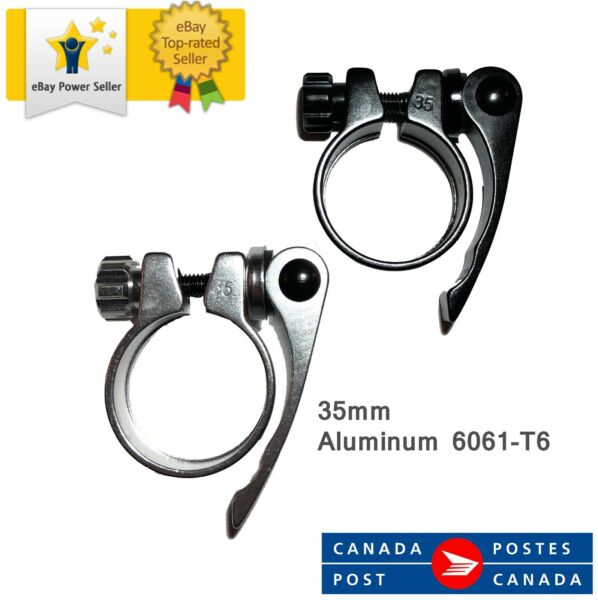 Bike Seat Post Quick Release Clamp Ø35mm New Silver or Black Aluminum