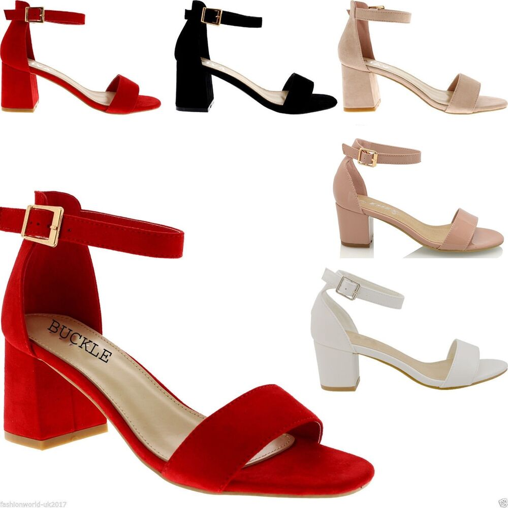 ea0fd7d8749e Details about Womens Low Mid Heel Block Peep Toe Ladies Ankle Strap Party  Strappy Sandals 3-8