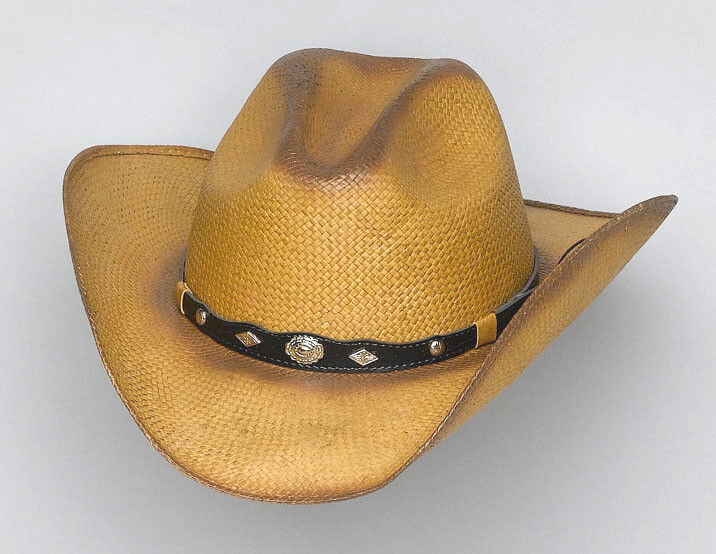 New WesternStraw Raffia Cowboy Hat Button on front hatband with Sun S//M, L//XL