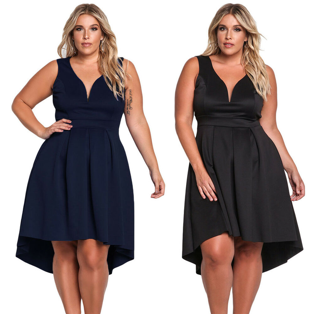 58f4ae39450 Details about Sexy Plus Size V Neck Sleeveless Fit   Flare Hi-lo Pleated  Swing Skater Dress