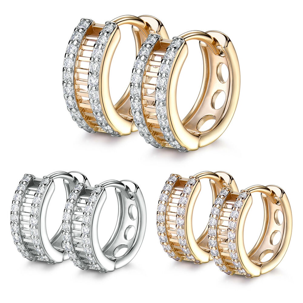 Huggie Ring Silver / Gold Filled Crystal Sapphire Women ...