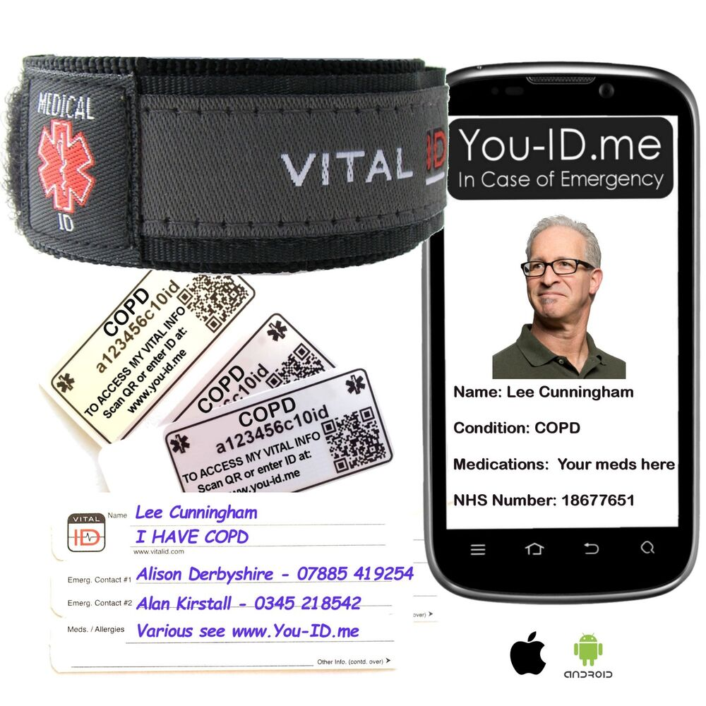 COPD Emergency Medical Alert Bracelet ID Card Wristband Contacts and SMS  Alerts* | eBay
