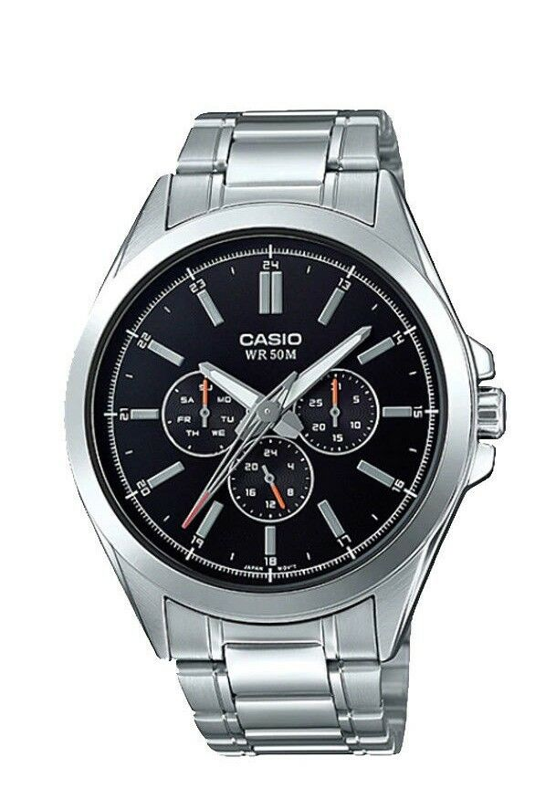 f6e6171cdb77 Casio MTP-SW300D-1A NEW Men s Dress Watch BLACK Dial Silver Stainless Steel  4549526172687
