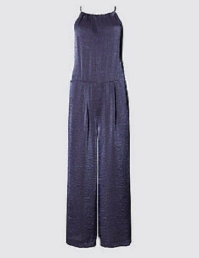 01bbfce9fb3e Details about EX M S NAVY METALLIC LIGHTWEIGHT GENTLY CROPPED CULOTTE  JUMPSUIT PLAYSUIT 10