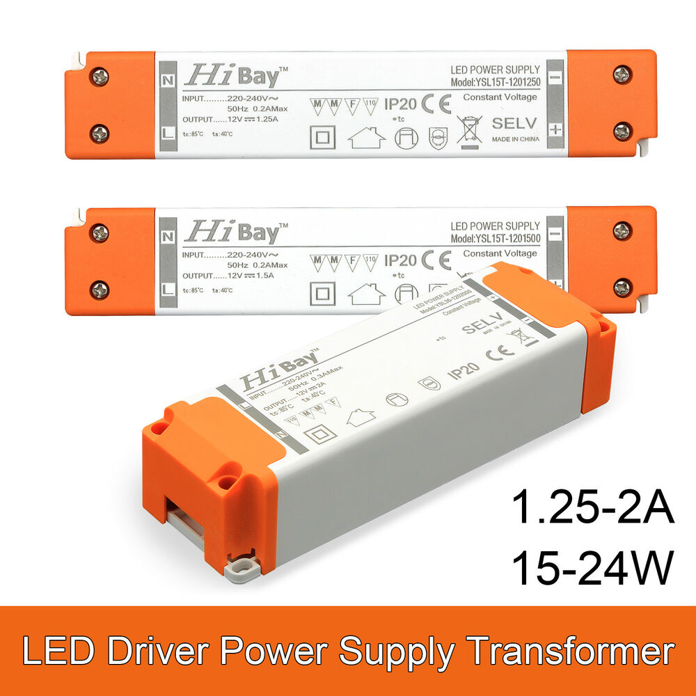 Uk Mr16 Led Transformer Driver Power Supply 240v Dc 12v 15w 18w 24w White Circuit Diagram Hi Watt Extra Slim Ebay