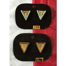 Vtg WILMARTH WESTERN MULTI-COLORED SOUTHWEST TURQUOISE GOLD TONE COLLAR TIPS