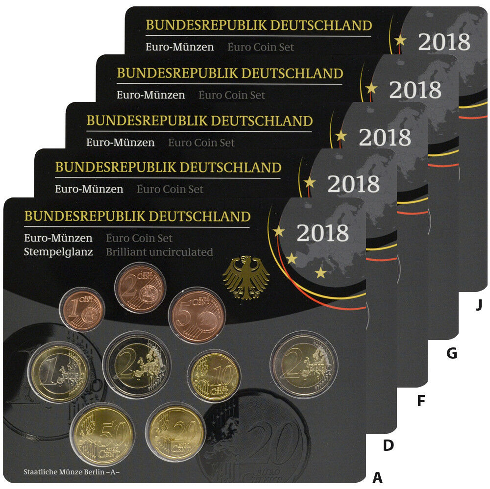 Germany 5 X 588 Euro 2018 Kms Course Set 1 Cent To 2 Euro St In