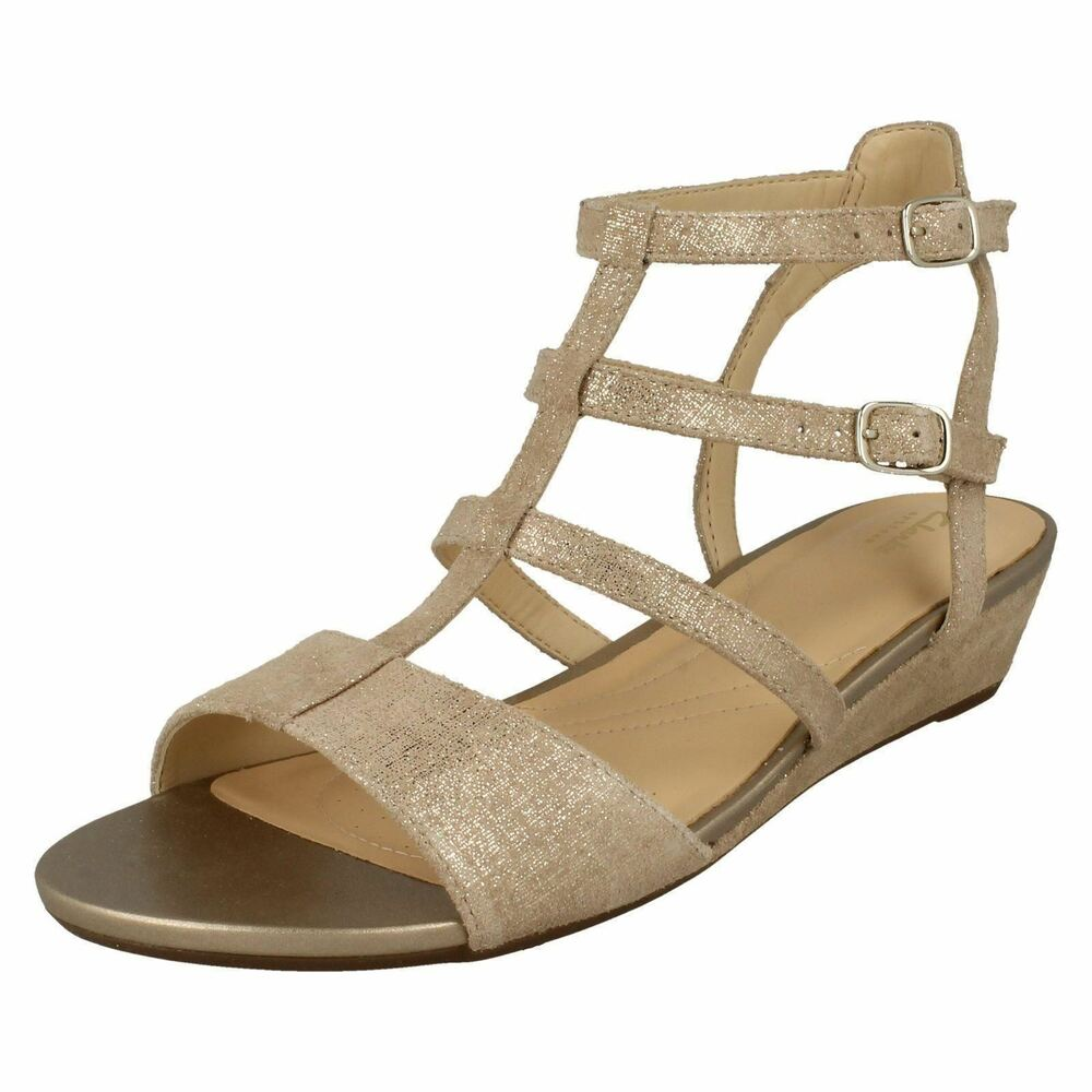 6a3120b4ef0 Details about Ladies Clarks Parram Spice Gold Suede Leather Smart Gladiator  Style Sandals