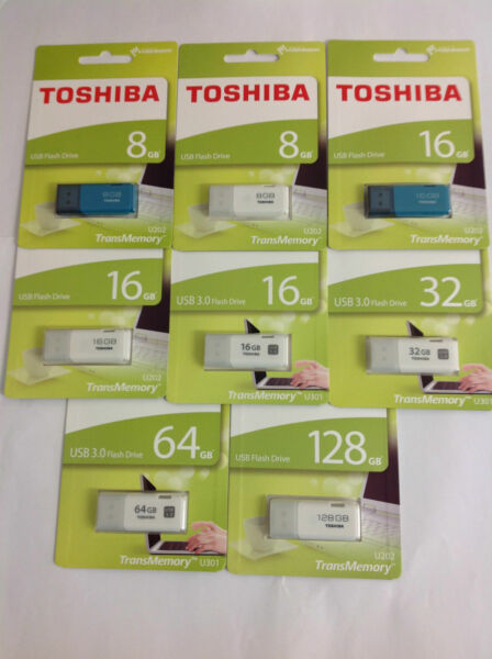 TransMemory Toshiba USB2.0/3.0 Flash Thumb 8 GB/16/32/64GB Memory Drive Retail