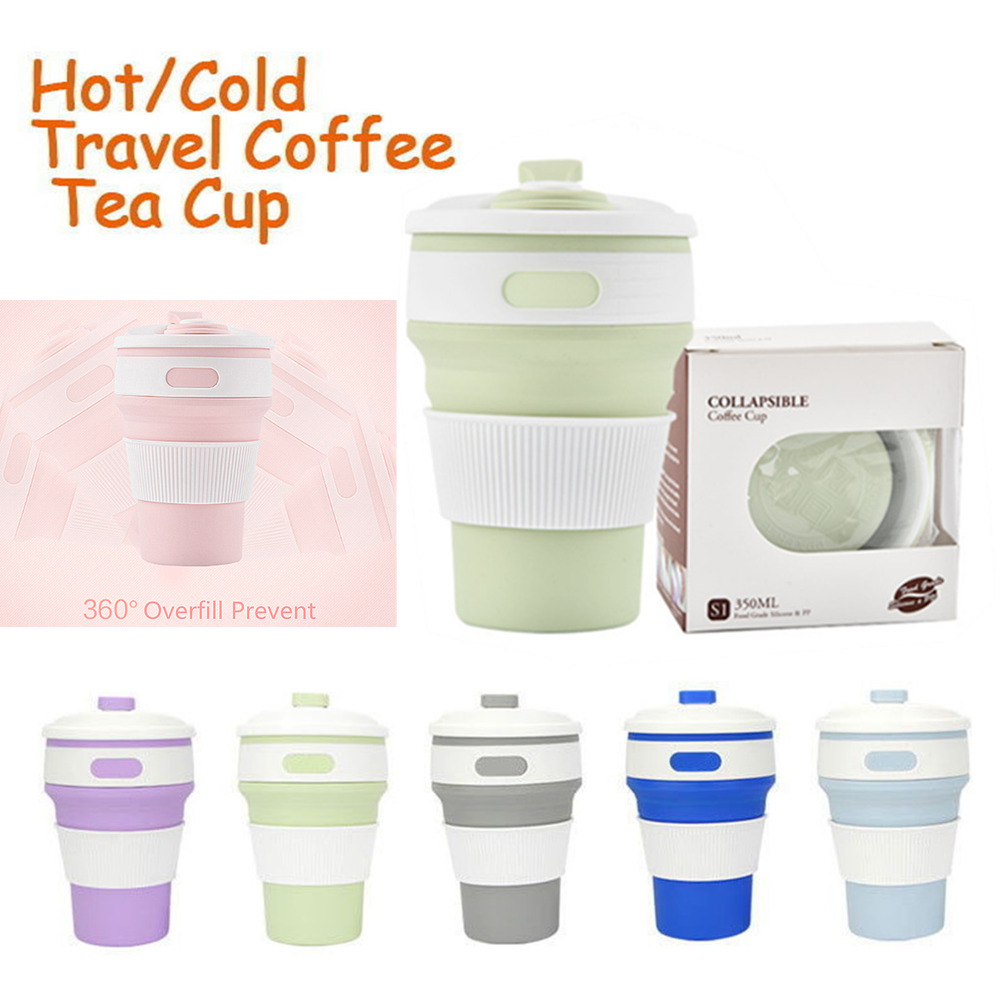 350ml collapsible silicone coffee cup mug reusable travel. Black Bedroom Furniture Sets. Home Design Ideas