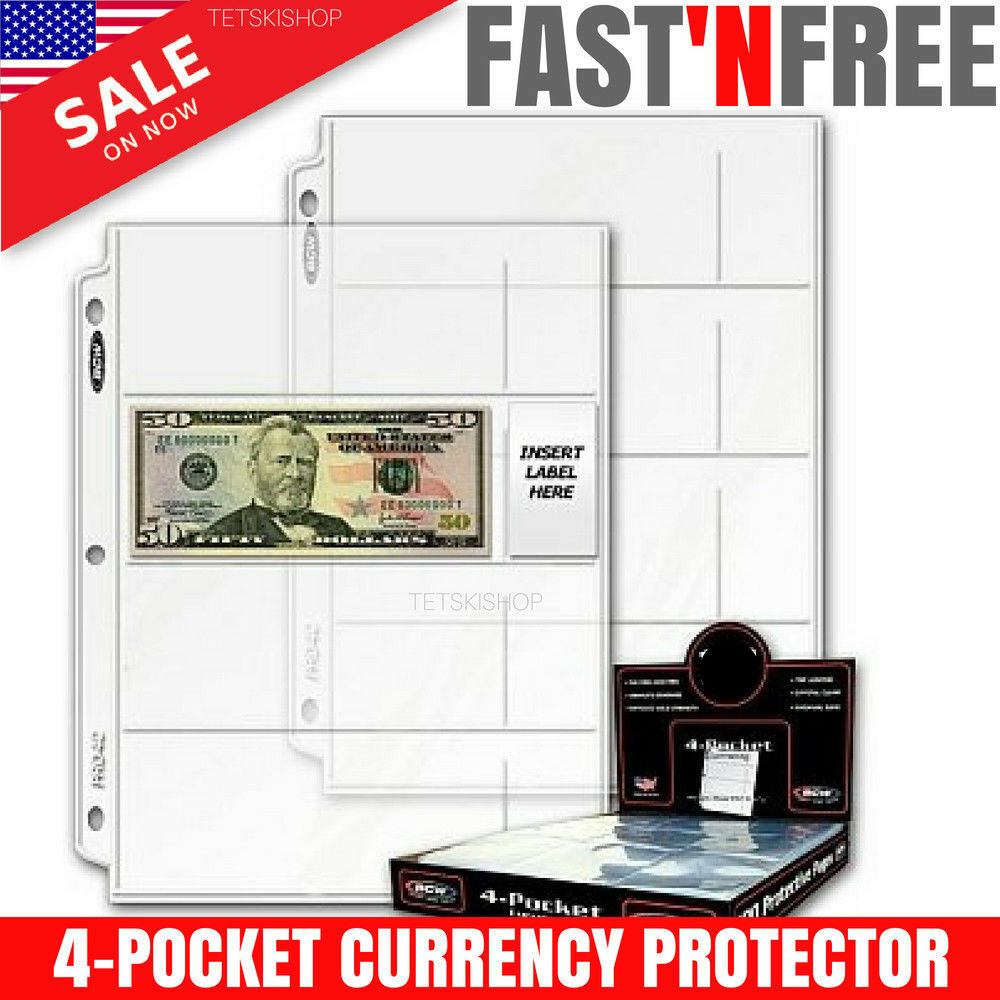 Currency Storage Page 4-Pocket Dollar Bill Paper Money
