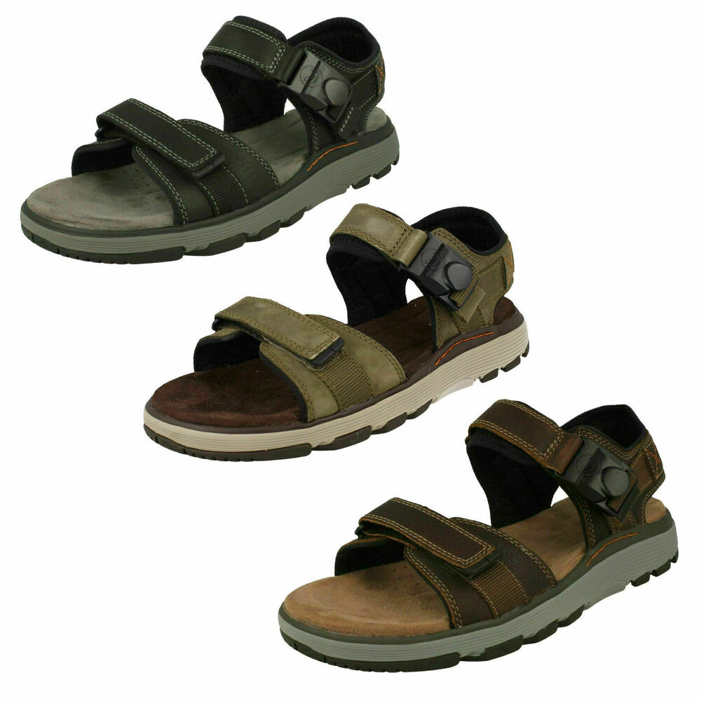 d110d972be8f Details about Mens Clarks Un Trek Part Black Or Dark Tan Leather Casual  Strapped Sandals