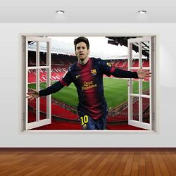 Lionel Messi Football FC Club Stadium 3D Smashed Wall Sticker Poster 787