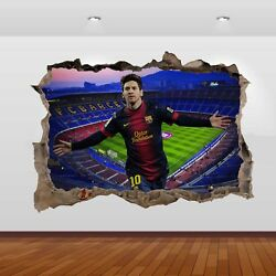 Lionel Messi  Nou Camp Football Club Stadium 3D Smashed Wall Sticker Poster 790