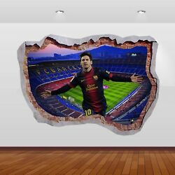 Lionel Messi  Nou Camp Football Club Stadium 3D Smashed Wall Sticker Poster 791