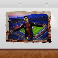 Lionel Messi  Nou Camp Football Club Stadium 3D Smashed Wall Sticker Poster 792