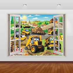 JCB Diggers & Tractors Graphic 3D Window Wall Sticker Poster Decal Art Mural 796