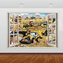 JCB Diggers & Tractors Graphic 3D Window Sticker Wall Poster Decal Art Mural 807