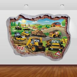 JCB Diggers Tractors Graphic 3D Smashed Sticker Wall Poster Decal Art Mural 797