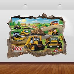 JCB Diggers Tractors Graphic 3D Smashed Sticker Wall Poster Decal Art Mural 798