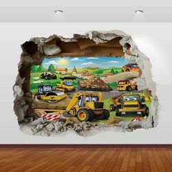 JCB Tractors Diggers Graphic 3D Smashed Sticker Wall Poster Decal Art Mural 799