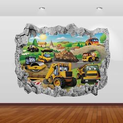 JCB Tractors Diggers Graphic 3D Smashed Stickers Poster Wall Decal Mural Art 801