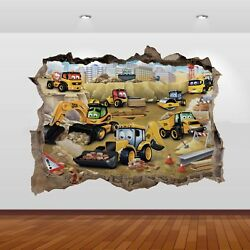 JCB Tractors Diggers Graphic 3D Smashed Stickers Poster Wall Decal Mural Art 803