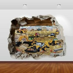 JCB Tractors Diggers Graphic 3D Smashed Stickers Poster Wall Decal Mural Art 804