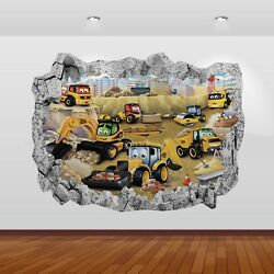JCB Tractors Diggers Graphic 3D Smashed Stickers Poster Wall Decal Mural Art 806