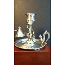 Silver Candle Holder - Muse with Lyre Made by Vera Orfebres of Madrid Hallmarked