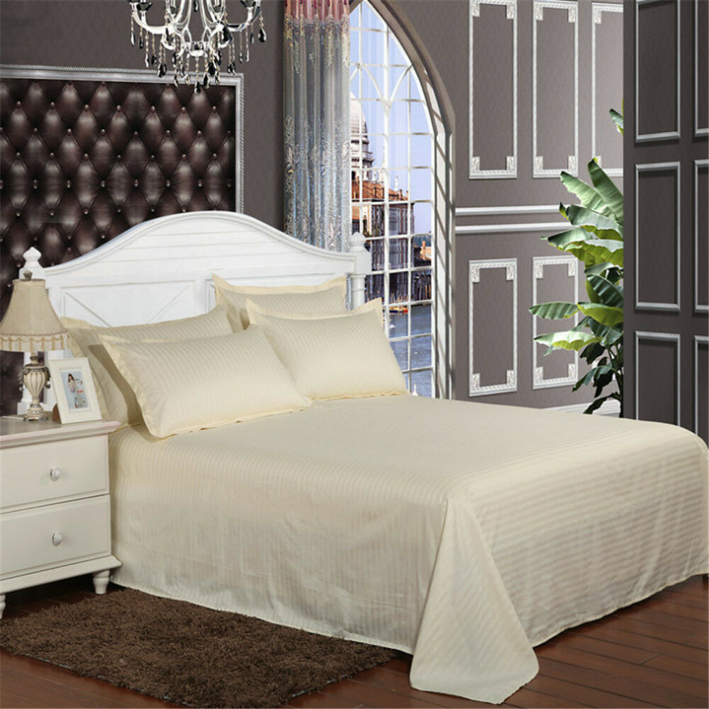 Details About 1 Piece Top Quality Cotton Bed Sheet Twin Full Queen King Bedding Flat Sheets