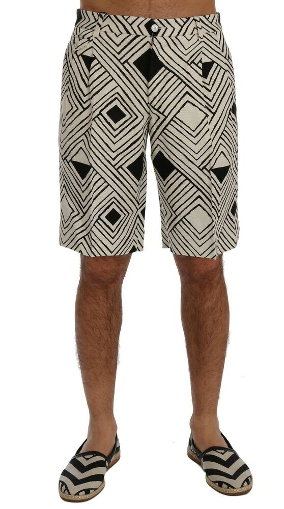 582776a35d Details about NEW $740 DOLCE & GABBANA Shorts White Black Striped Casual  Knee High IT48 / W34