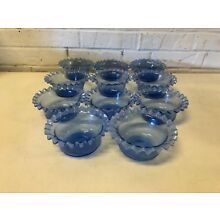 Antique 19th Century American Art Glass Set of 11 Ruffled Rim Finger Bowls