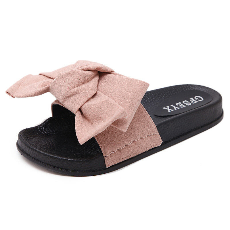 af2e4f888bf9 Fashion Women Slippers Comfy Flip Flops Girl Bow Knot Sandals Shoes Big Size