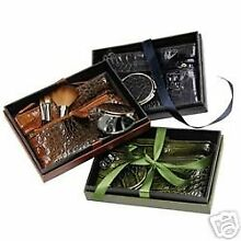 Cosmetic Bag and Make-Up Brushes Gift Set, 5 Piece Green Crocodile by Kristine A
