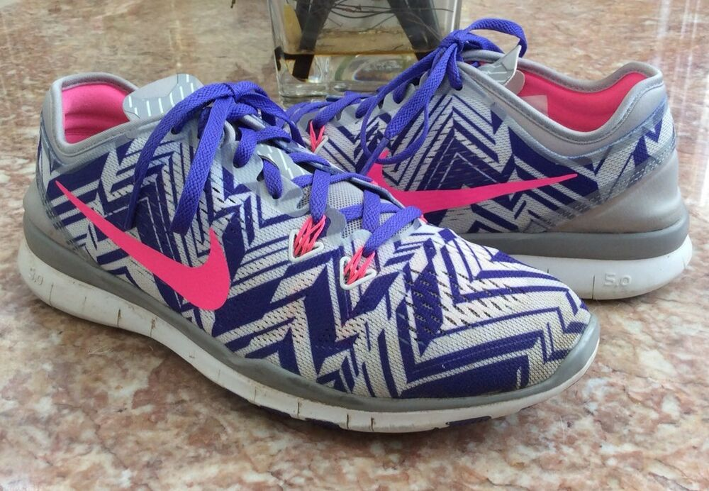 7c6261e171b3 Details about Nike Free 5.0 TR FIT 5 PRT Women s Gray Purple Running Shoes  Size 8  704695-005