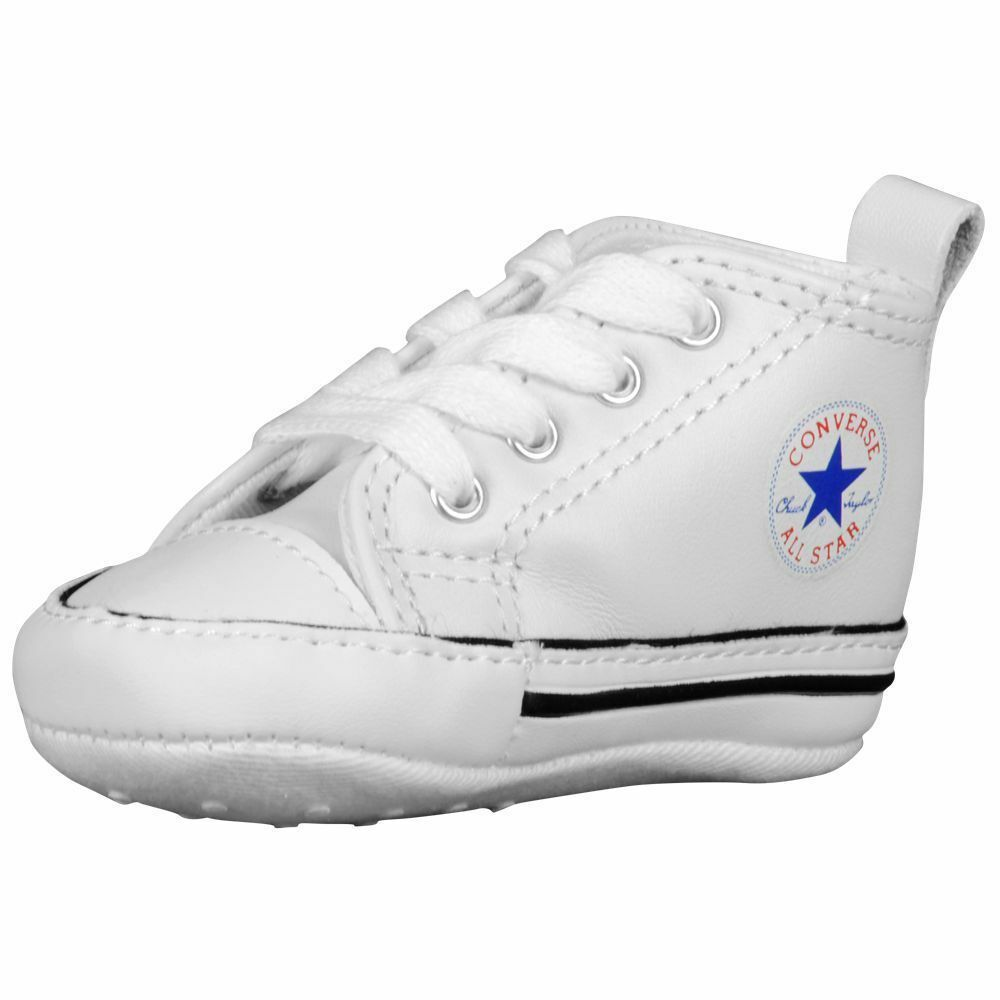 75c59aa169c1 CONVERSE NEWBORN CRIB WHITE LEATHER 81229 FIRST ALL STAR BABY SHOES SIZE-1-  4