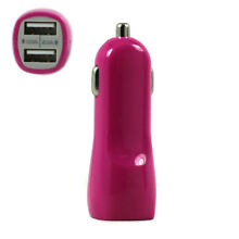 2 USB Output Cell Phone Car Adapter Charger (Hot Pink)