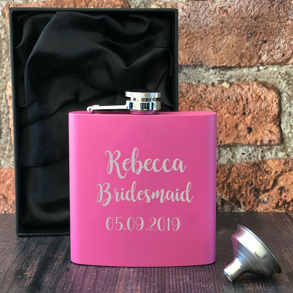 Personalised Hip Flasks Pink Gift Ideas For Women Wedding Favours