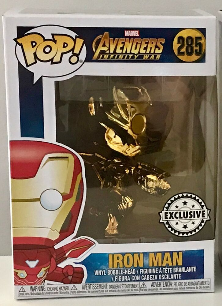 a255aac8825 Details about Funko Pop! Vinyl Marvel Avengers Infinity War Gold Chrome  Iron Man NEW  285