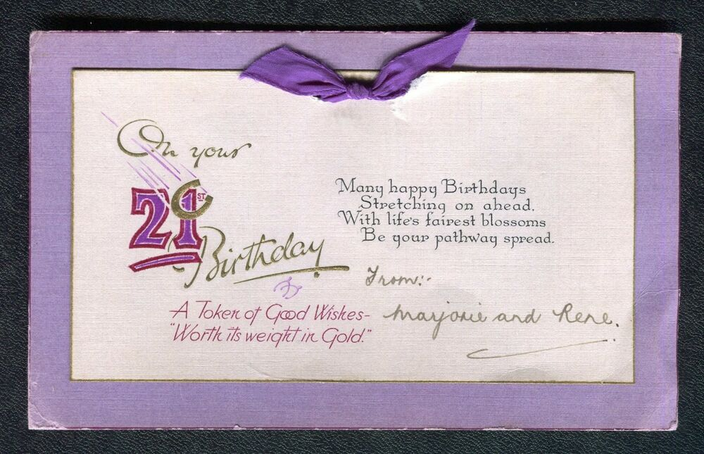 Details About C1940s 21st Birthday Card Token Of Good Wishes Worth Its Weight In Gold