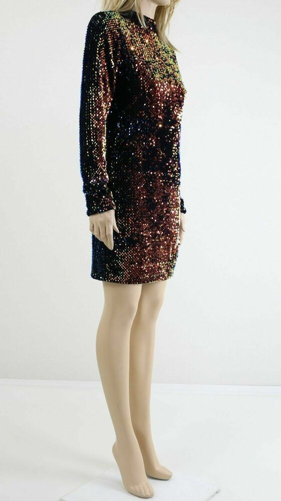 59a04faef365 Details about Motel Backless Dark Mermaid Bodycon Dress With High Neck In  Velvet Sequin UK 12
