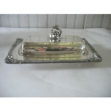 Vintage Silver on Copper Glass Butter Dish Silverplate