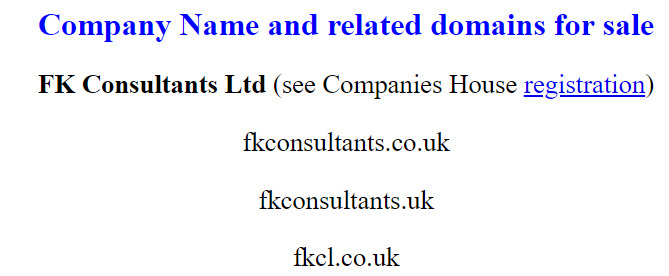 Details about 4 letter domain name - fkcl.co.uk, associated domains and company registration