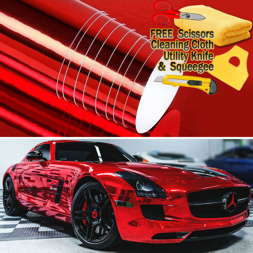 """96/"""" x 60/"""" Red Chrome Mirror Vinyl Film Wrap Sticker Decal Stretchable 8ft x 5ft"""